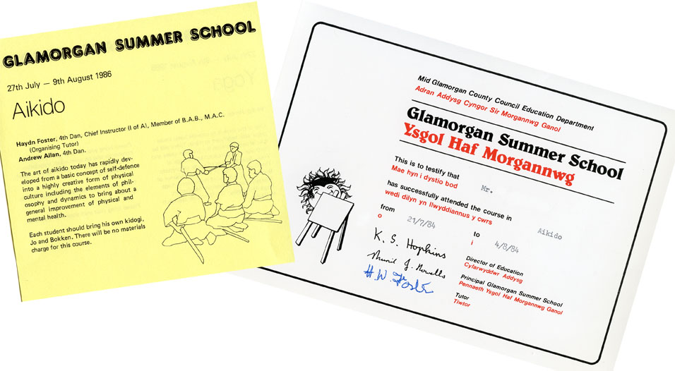 Glamorgan Aikido Summer School                                   1984 certificate and 1986 leaflet