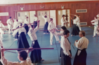 Weapons training at the Aikido                                 Summer School in Treforest