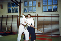 An Aikido throw                                               from a Jo attack