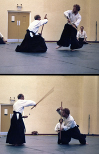 Andy Allan Sensei shows the 5th                               Kumijo - a double picture showing both                               sides of the movement